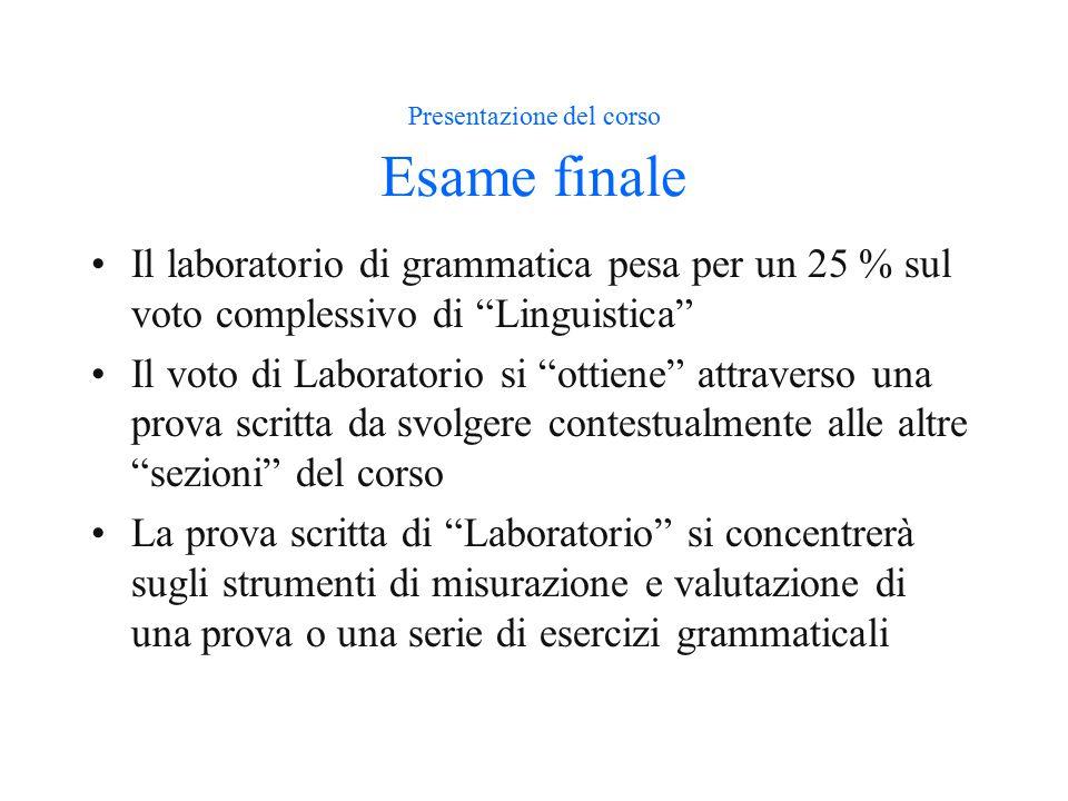 Presentazione del corso Esame finale