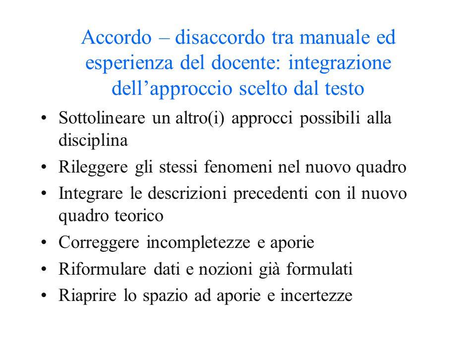 Accordo – disaccordo tra manuale ed esperienza del docente: integrazione dell'approccio scelto dal testo