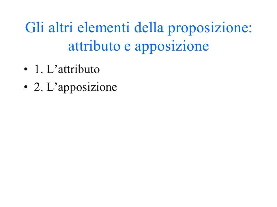 Gli altri elementi della proposizione: attributo e apposizione