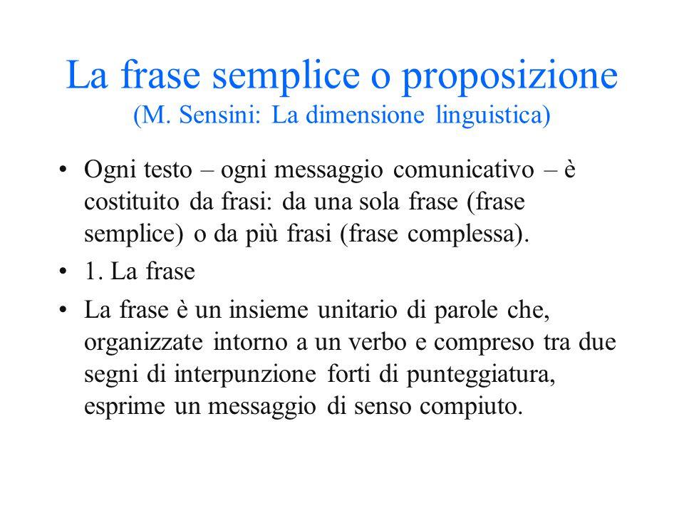 La frase semplice o proposizione (M