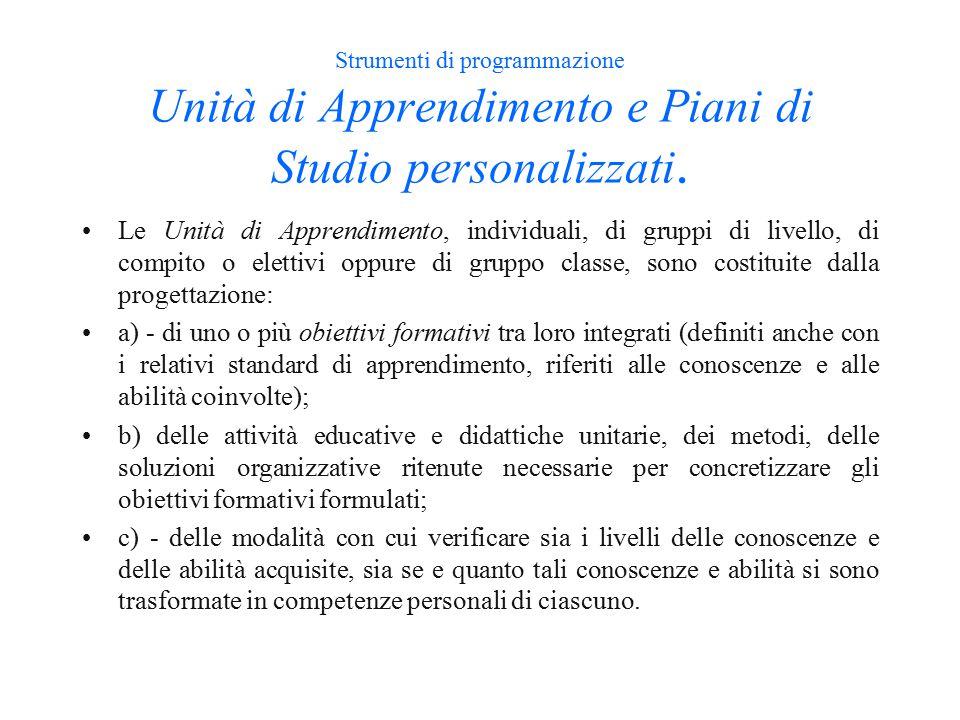 Strumenti di programmazione Unità di Apprendimento e Piani di Studio personalizzati.