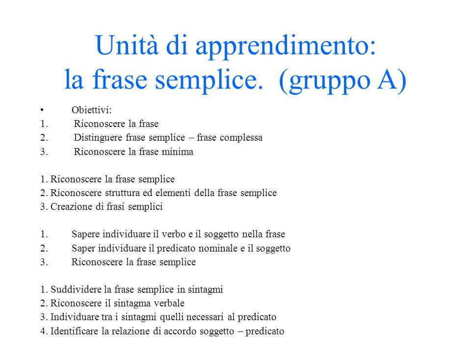 Unità di apprendimento: la frase semplice. (gruppo A)