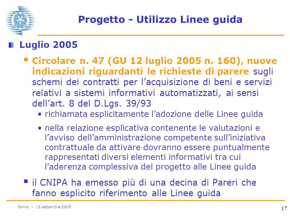 Progetto - Utilizzo Linee guida
