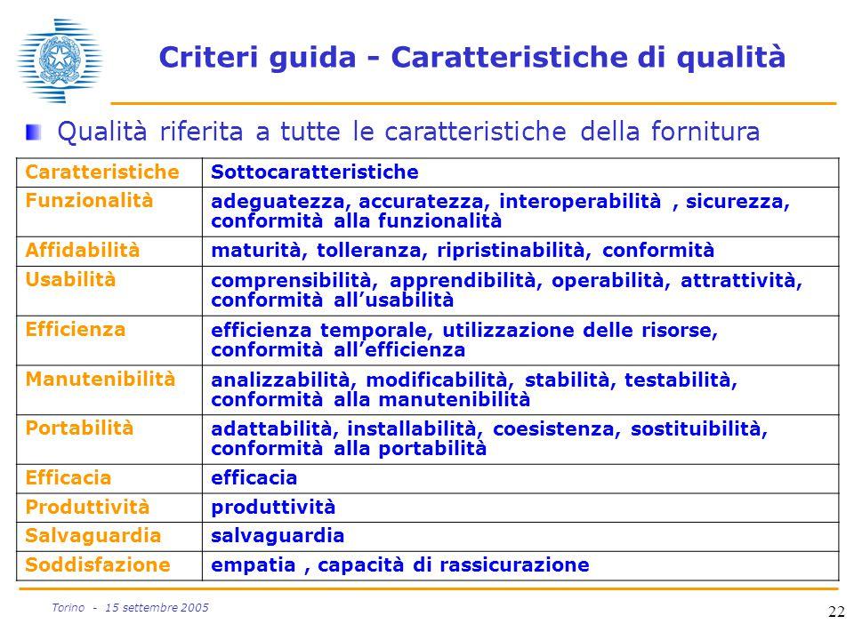 Criteri guida - Caratteristiche di qualità