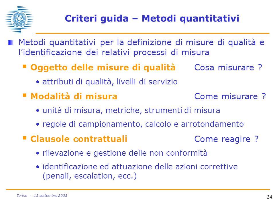 Criteri guida – Metodi quantitativi