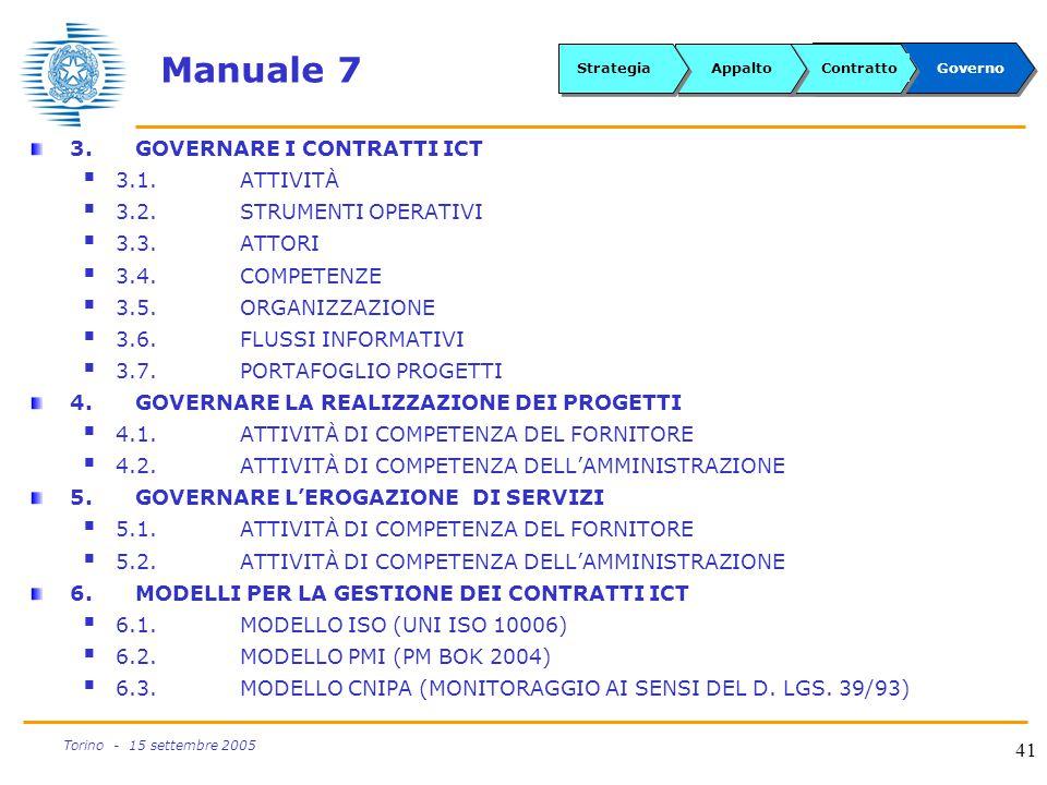 Manuale 7 3. GOVERNARE I CONTRATTI ICT 3.1. ATTIVITÀ