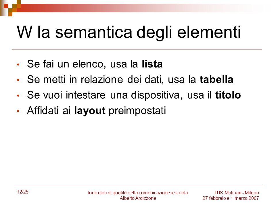 W la semantica degli elementi