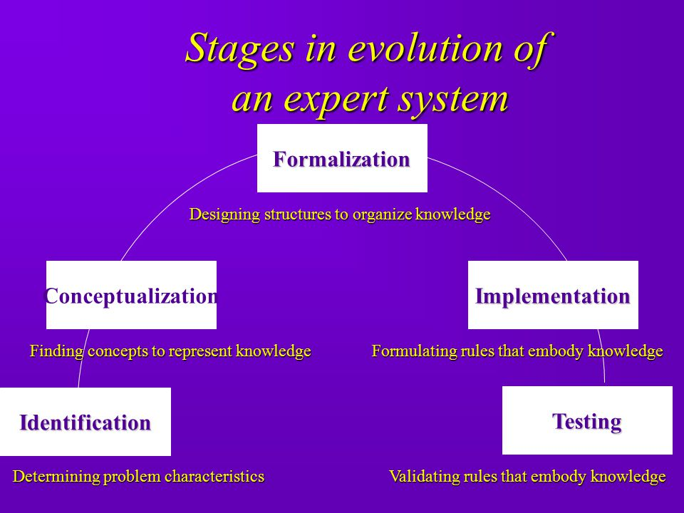 Stages in evolution of an expert system Formalization