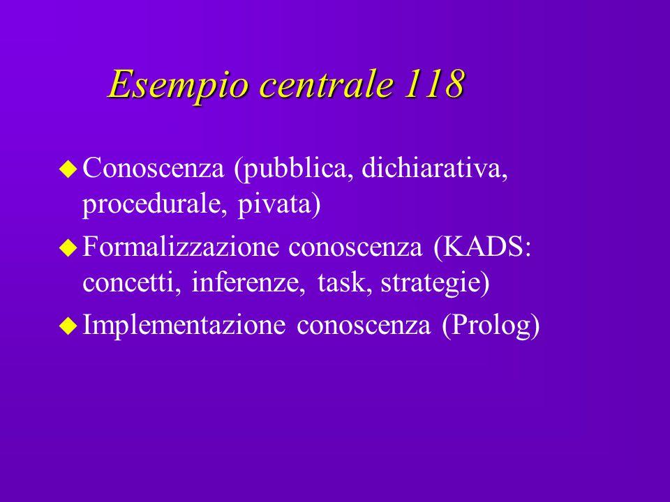 Esempio centrale 118 Conoscenza (pubblica, dichiarativa, procedurale, pivata)