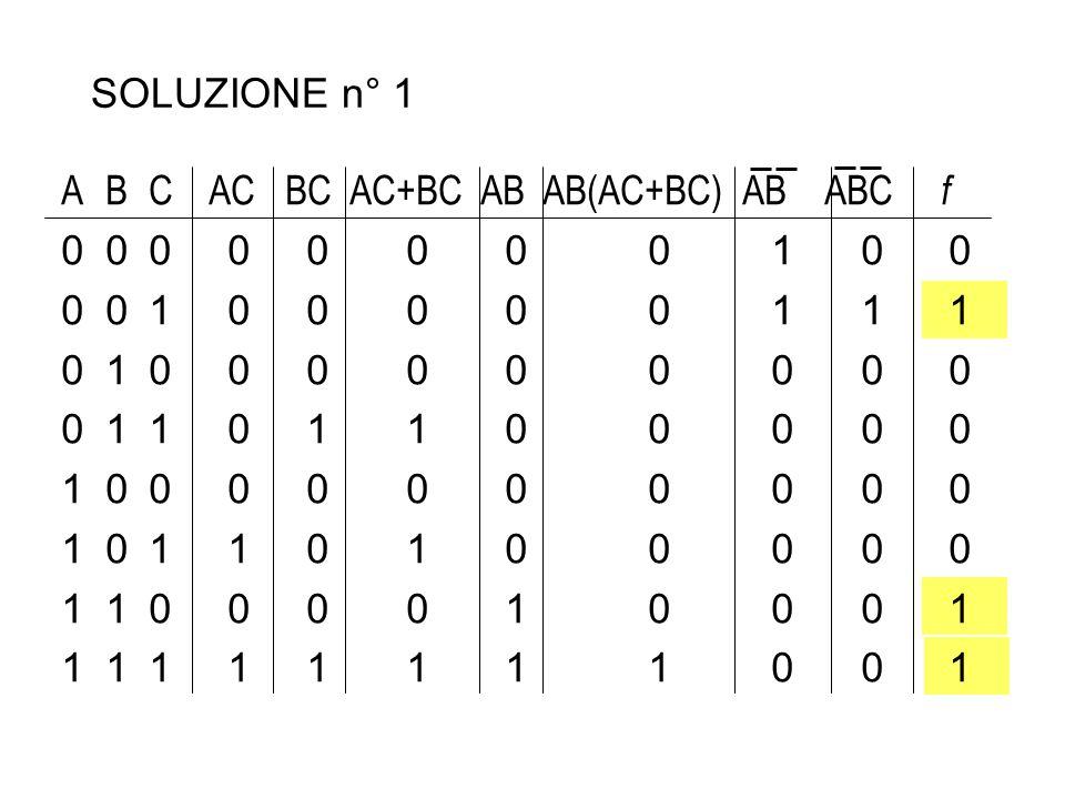 SOLUZIONE n° 1 A B C AC BC AC+BC AB AB(AC+BC) AB ABC f. 0 0 0 0 0 0 0 0 1 0 0. 0 0 1 0 0 0 0 0 1 1 1.