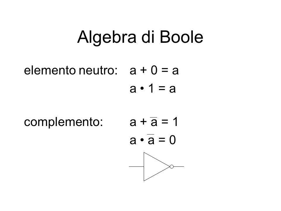 Algebra di Boole elemento neutro: a + 0 = a a • 1 = a