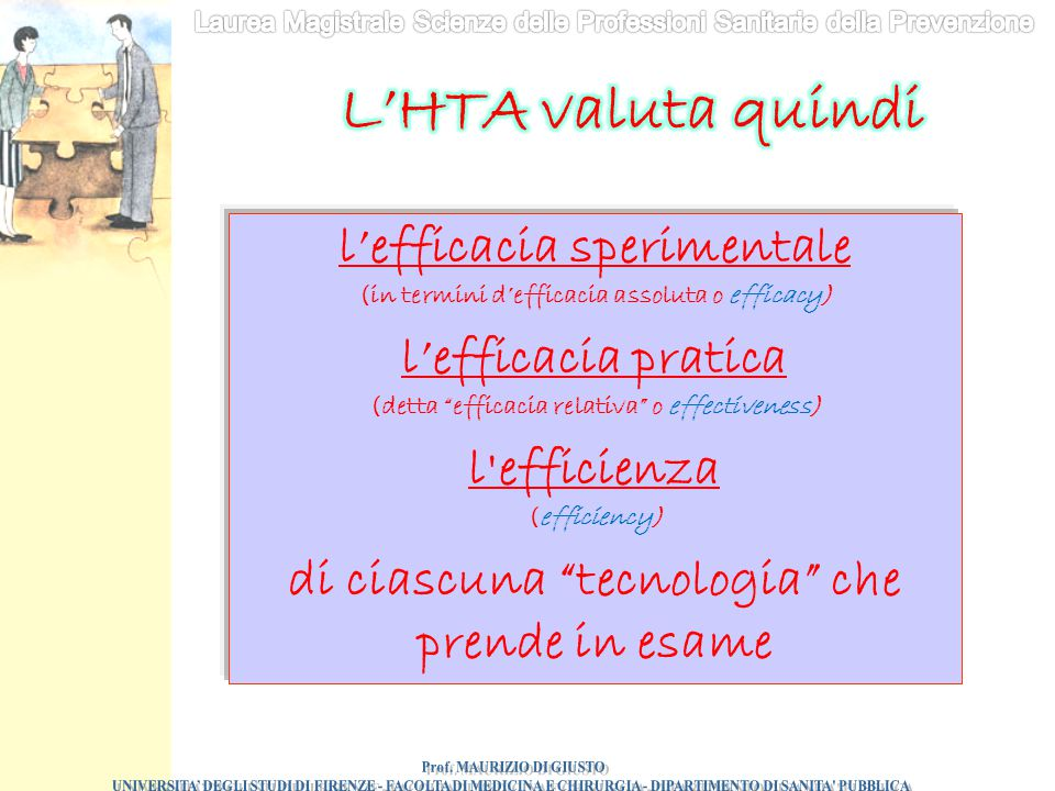 L'HTA valuta quindi l'efficacia sperimentale l'efficacia pratica