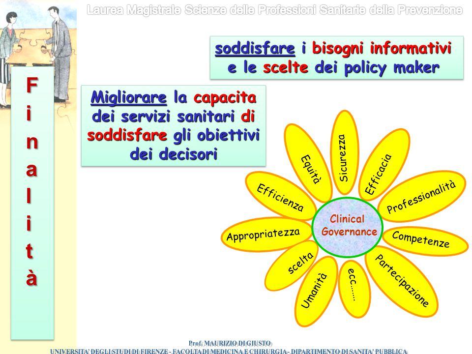 Finalità soddisfare i bisogni informativi e le scelte dei policy maker