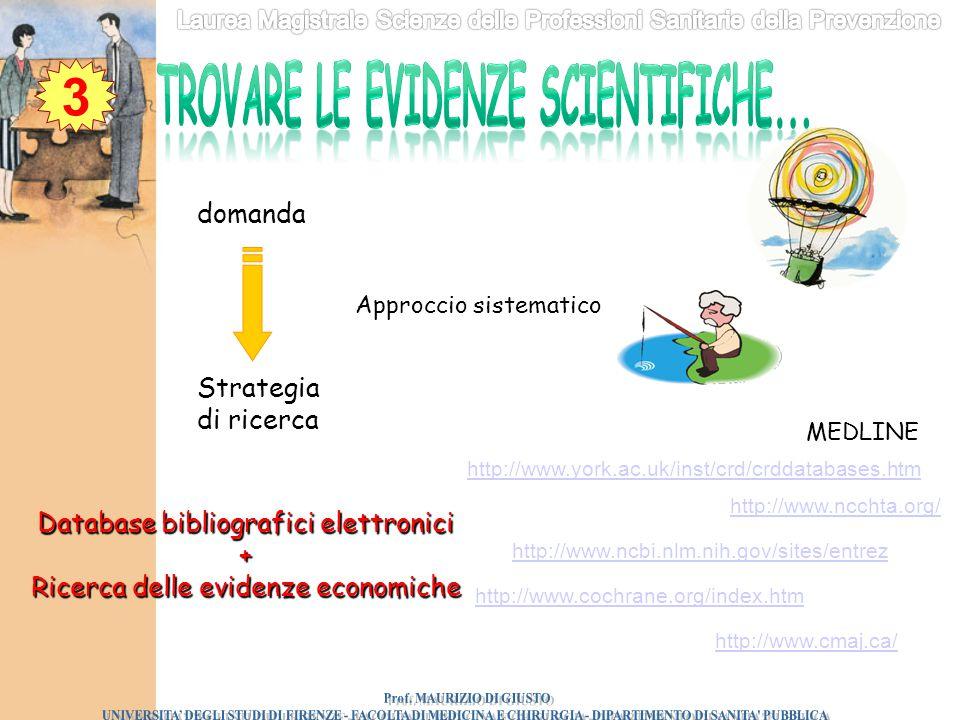 Trovare le evidenze scientifiche... Prof. MAURIZIO DI GIUSTO