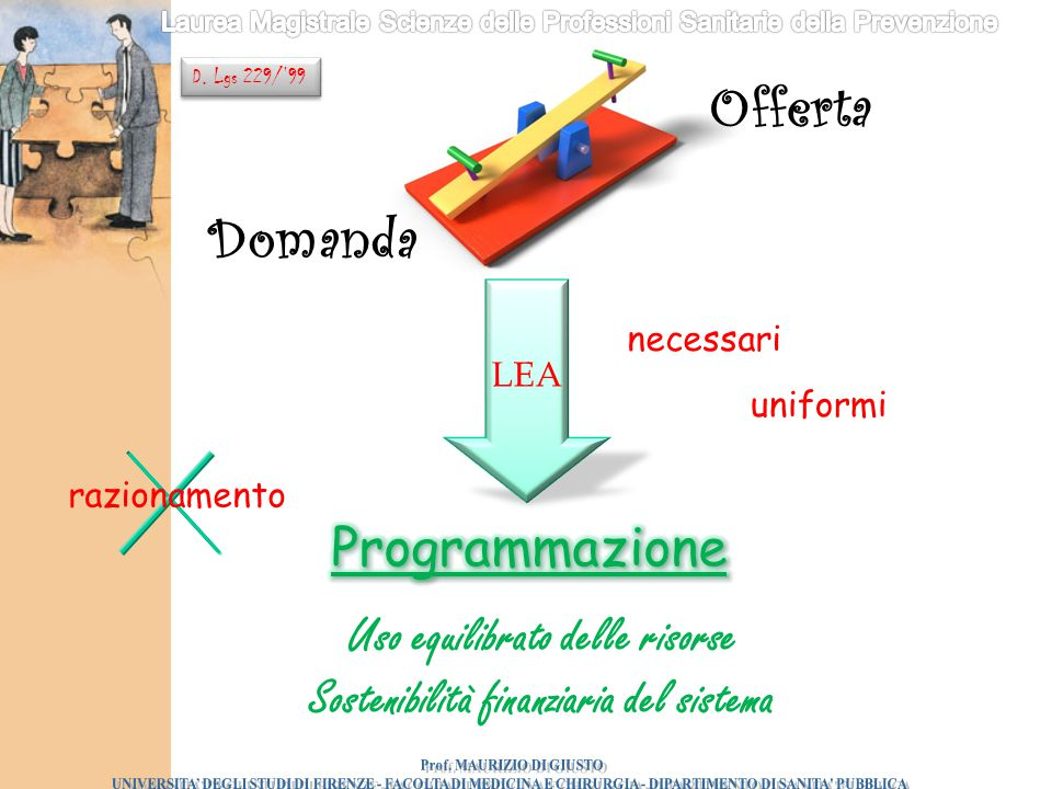 Offerta Domanda Programmazione Uso equilibrato delle risorse