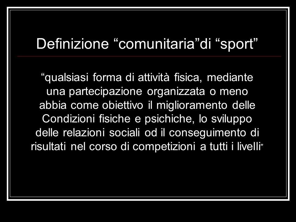 Definizione comunitaria di sport