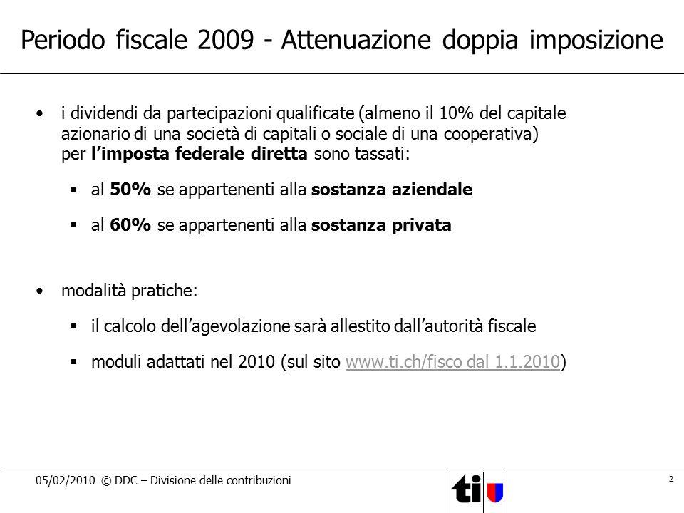 Periodo fiscale 2009 - Attenuazione doppia imposizione