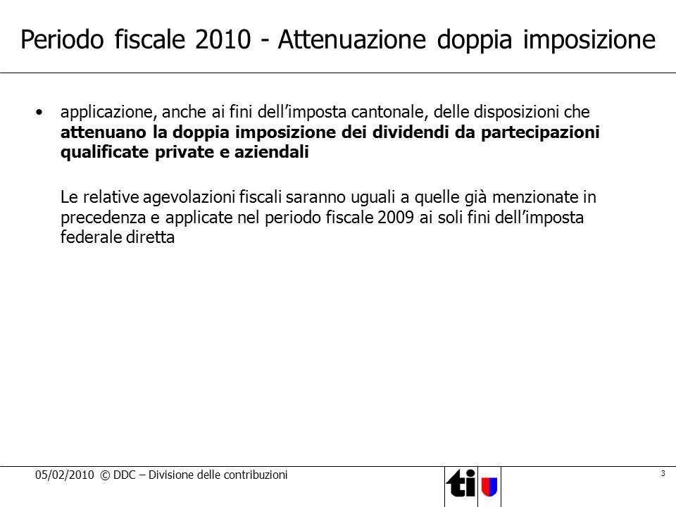Periodo fiscale 2010 - Attenuazione doppia imposizione