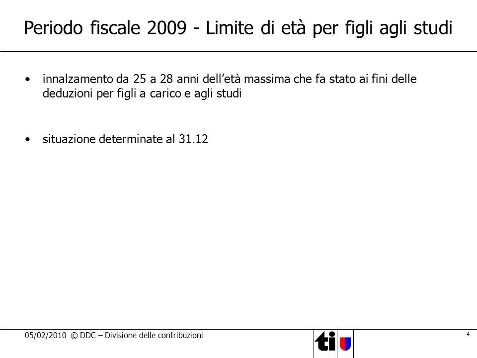 Periodo fiscale 2009 - Limite di età per figli agli studi