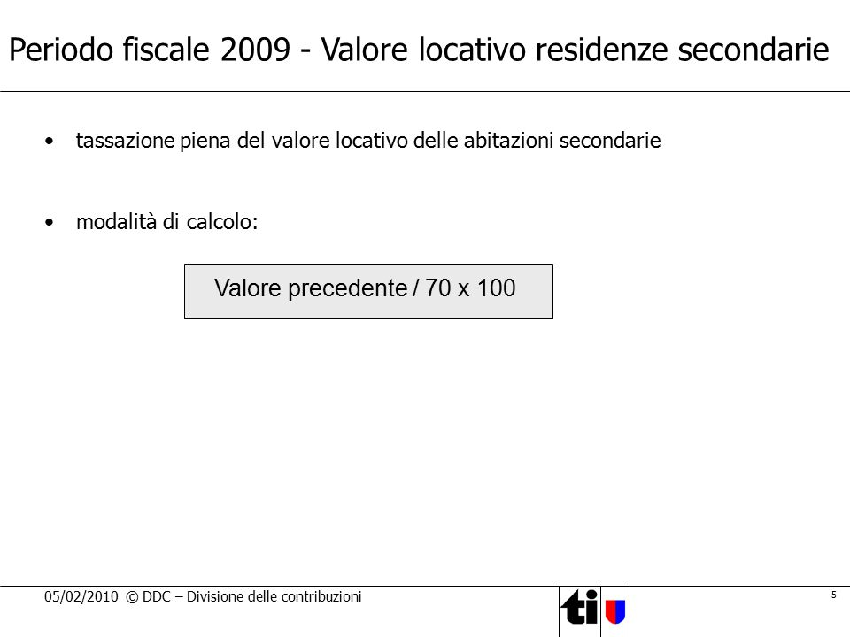 Periodo fiscale 2009 - Valore locativo residenze secondarie