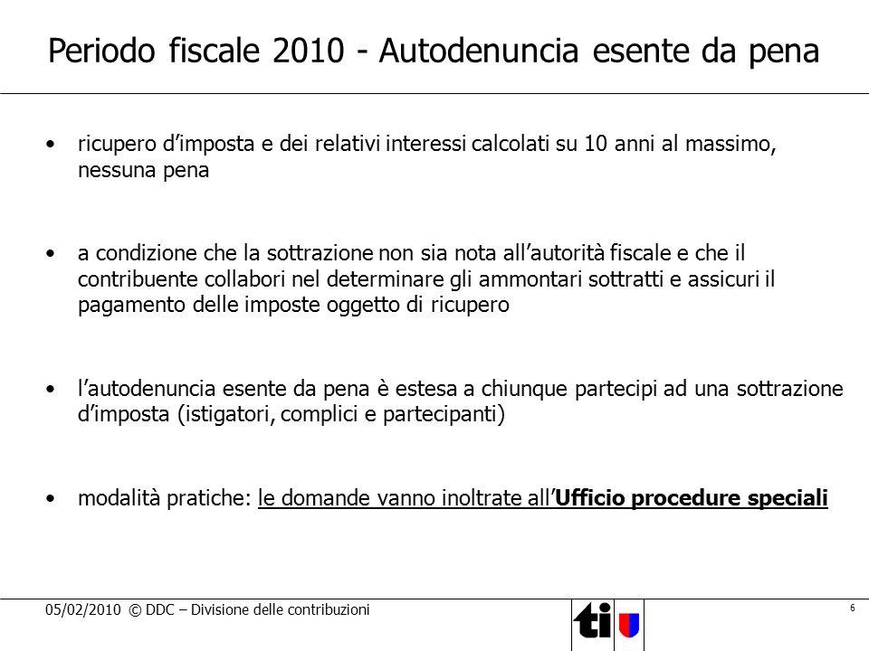 Periodo fiscale 2010 - Autodenuncia esente da pena