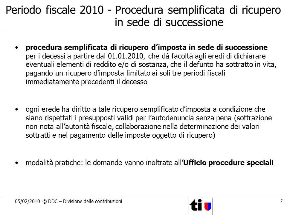 Periodo fiscale 2010 - Procedura semplificata di ricupero
