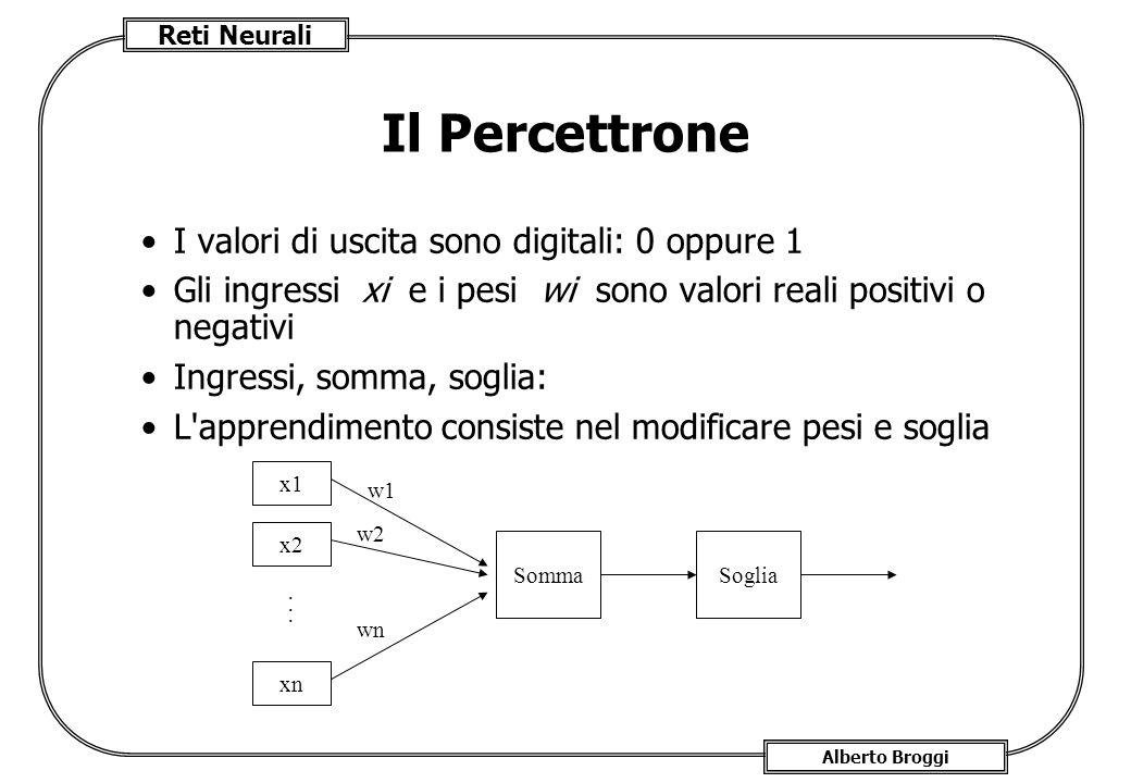 Il Percettrone I valori di uscita sono digitali: 0 oppure 1