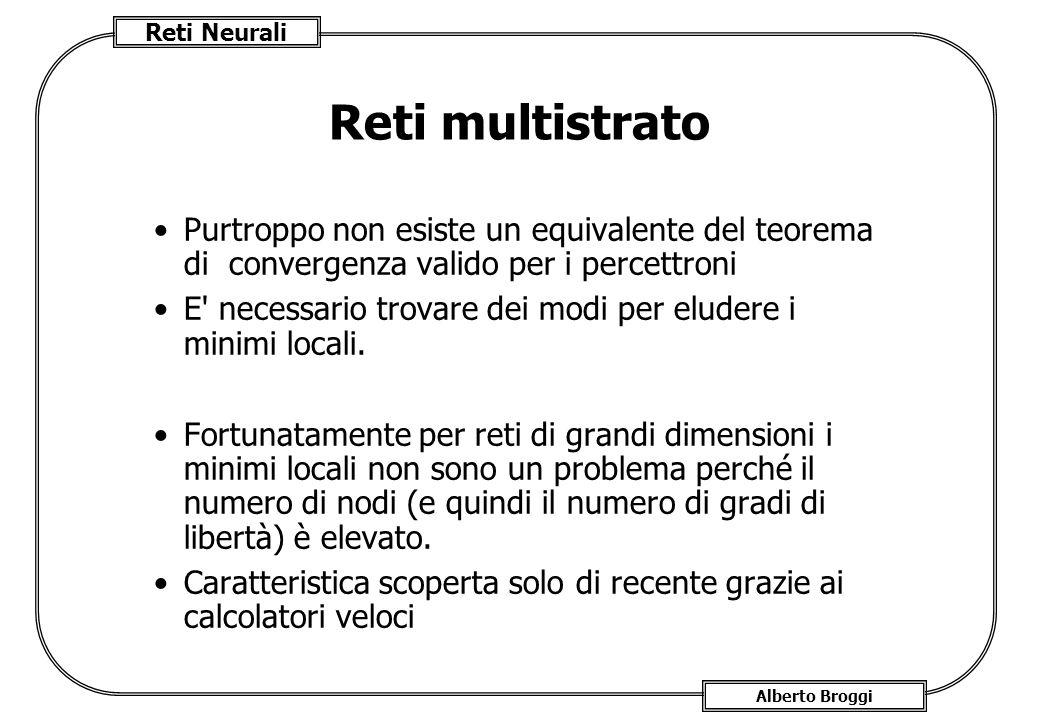 Reti multistrato Purtroppo non esiste un equivalente del teorema di convergenza valido per i percettroni.