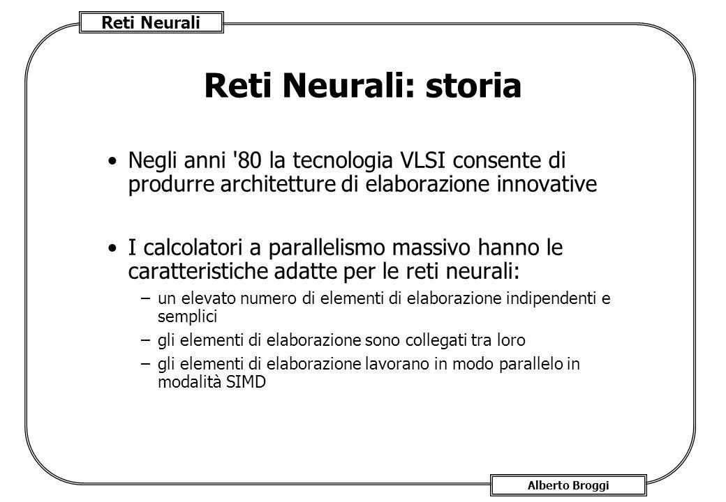 Reti Neurali: storia Negli anni 80 la tecnologia VLSI consente di produrre architetture di elaborazione innovative.