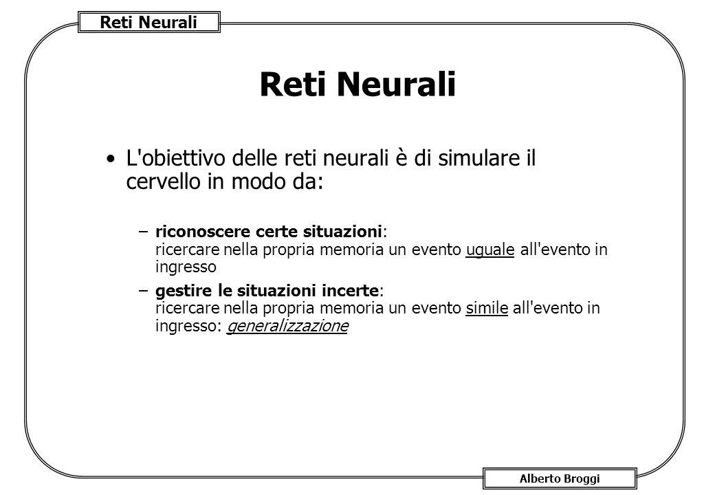 Reti Neurali L obiettivo delle reti neurali è di simulare il cervello in modo da: