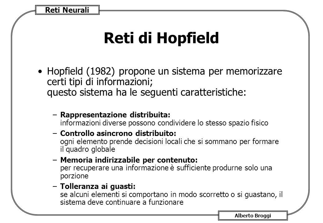 Reti di Hopfield Hopfield (1982) propone un sistema per memorizzare certi tipi di informazioni; questo sistema ha le seguenti caratteristiche: