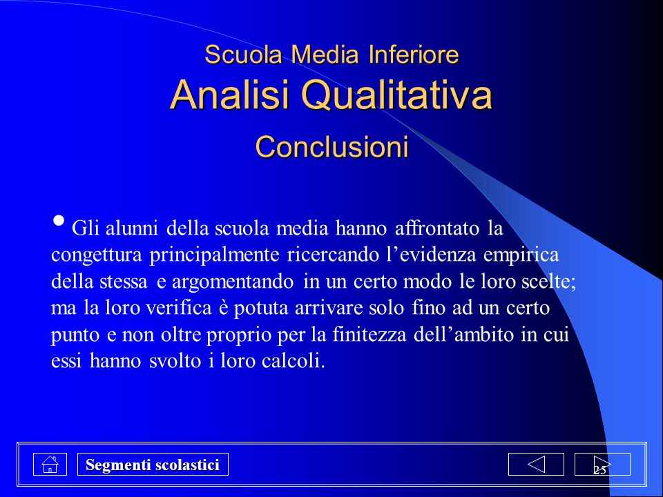 Scuola Media Inferiore Analisi Qualitativa Conclusioni