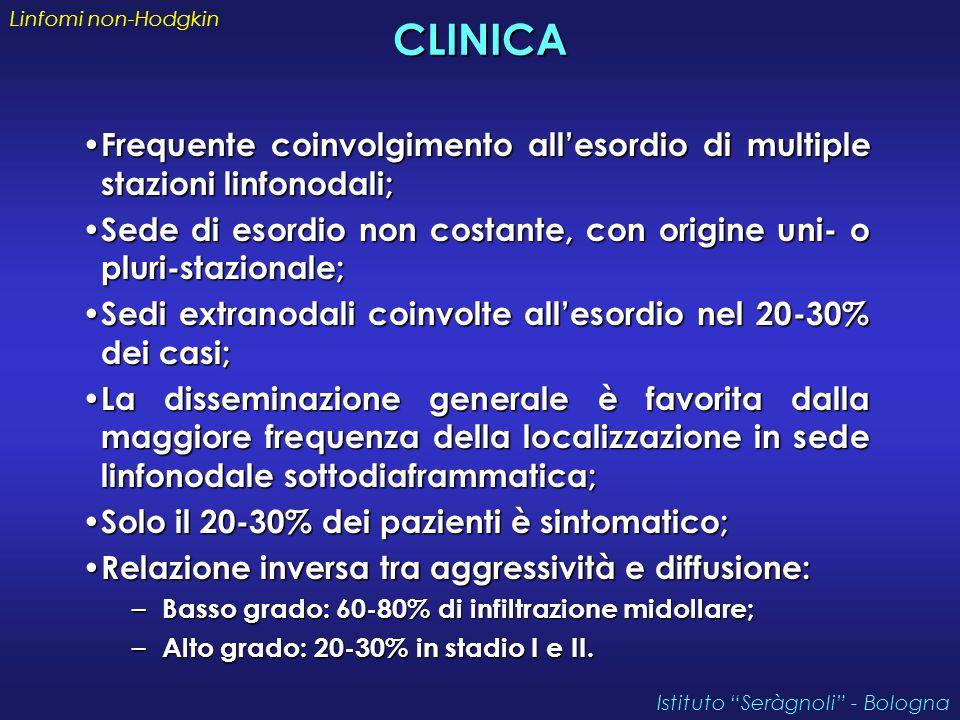 Linfomi non-Hodgkin CLINICA. Frequente coinvolgimento all'esordio di multiple stazioni linfonodali;