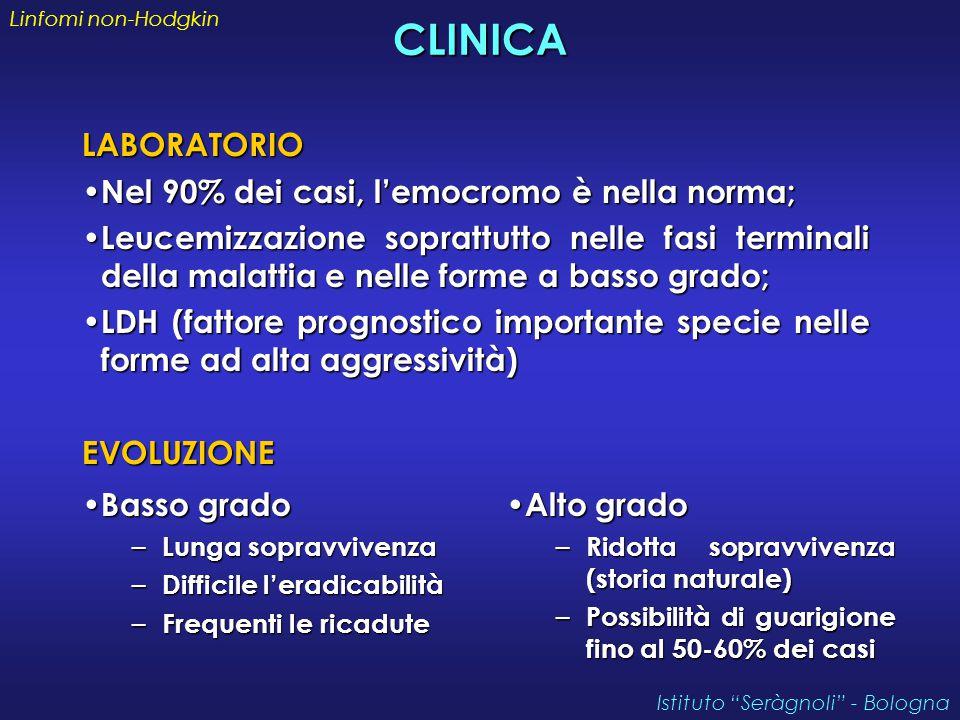 CLINICA LABORATORIO Nel 90% dei casi, l'emocromo è nella norma;
