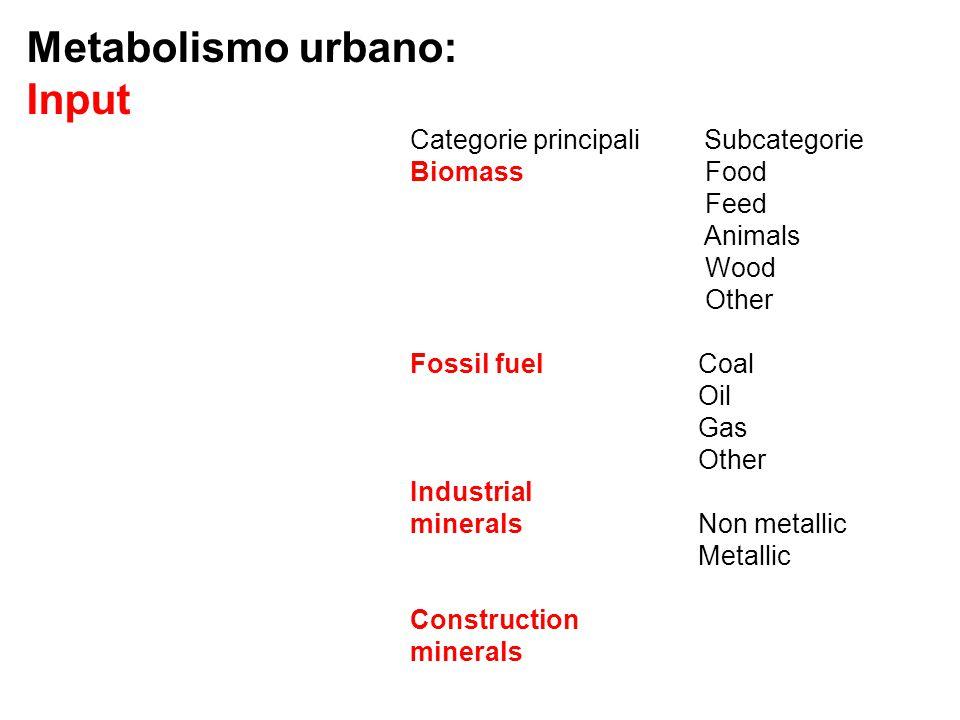 Metabolismo urbano: Input Categorie principali Subcategorie