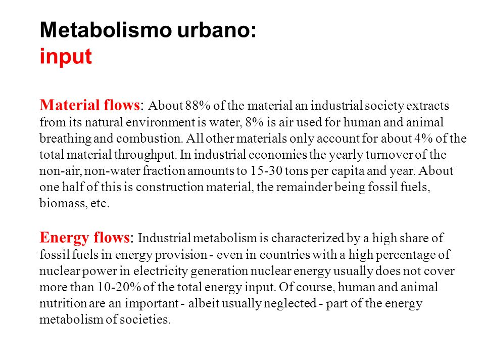 Metabolismo urbano: input