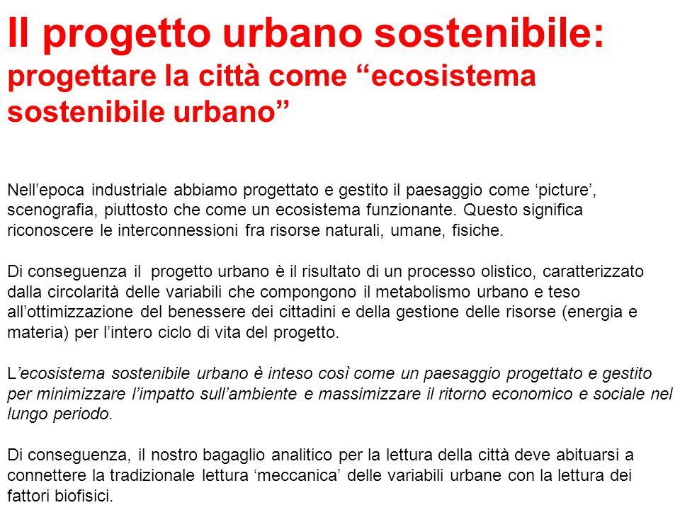 Il progetto urbano sostenibile: progettare la città come ecosistema sostenibile urbano Nell'epoca industriale abbiamo progettato e gestito il paesaggio come 'picture', scenografia, piuttosto che come un ecosistema funzionante.