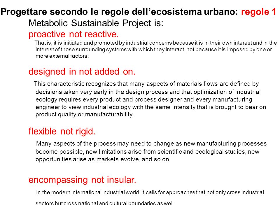 Progettare secondo le regole dell'ecosistema urbano: regole 1
