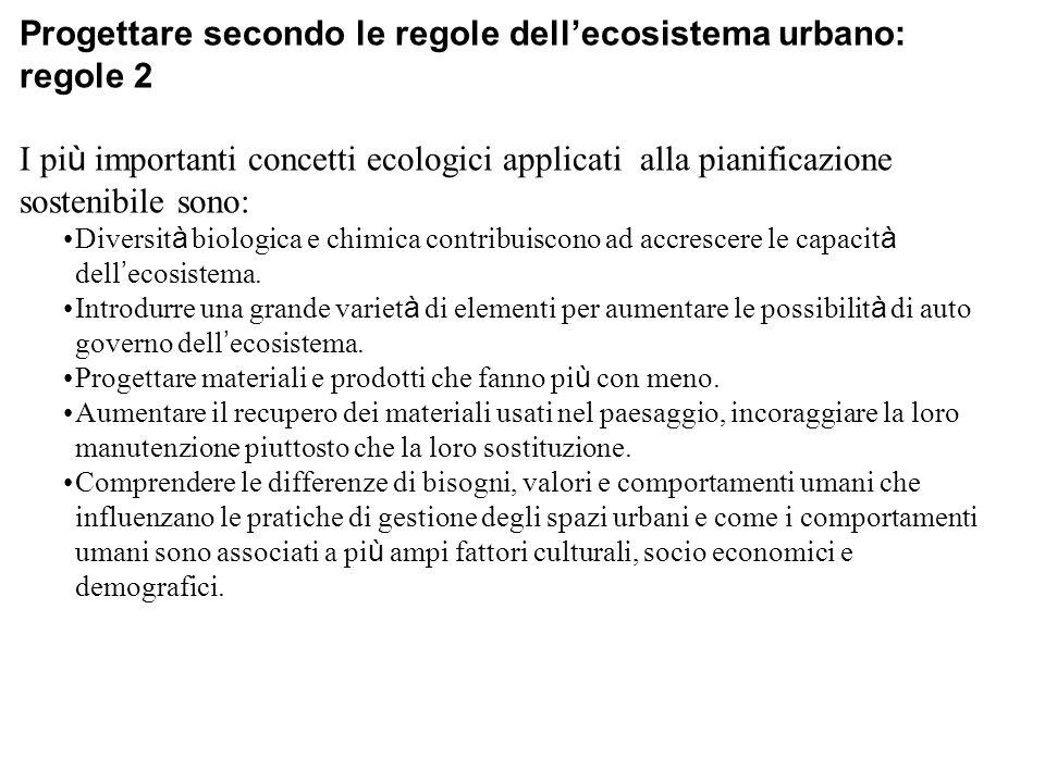 Progettare secondo le regole dell'ecosistema urbano: regole 2