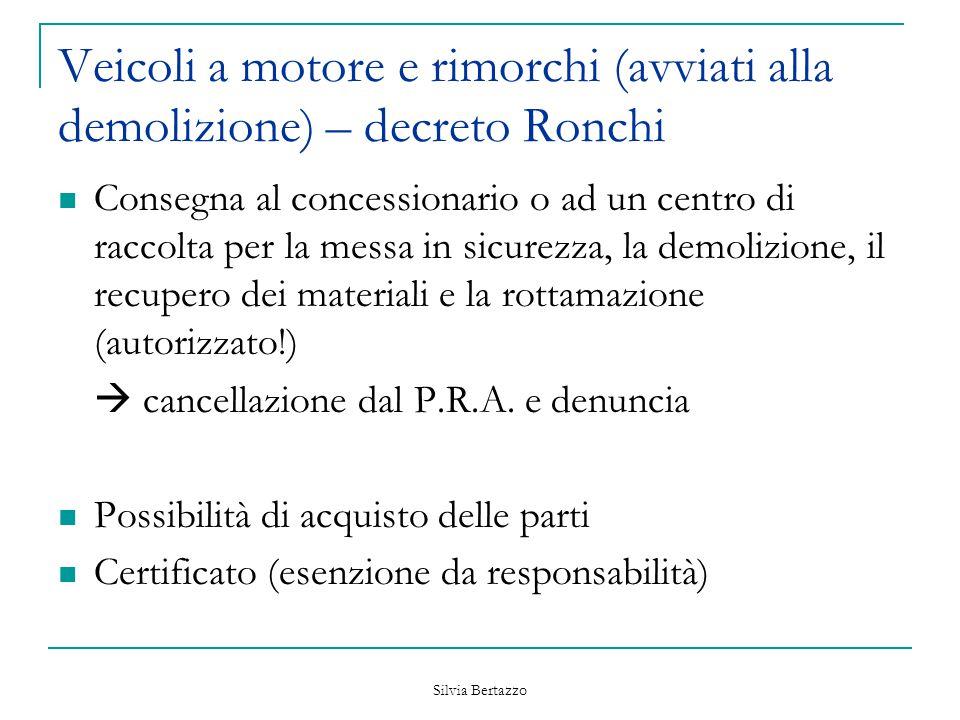 Veicoli a motore e rimorchi (avviati alla demolizione) – decreto Ronchi