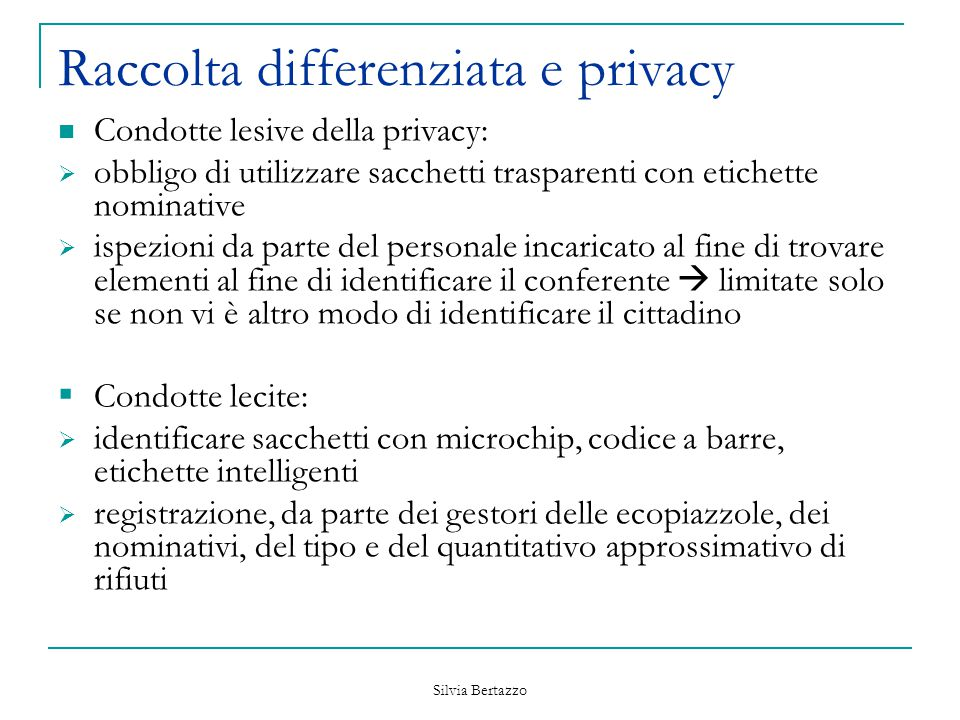 Raccolta differenziata e privacy