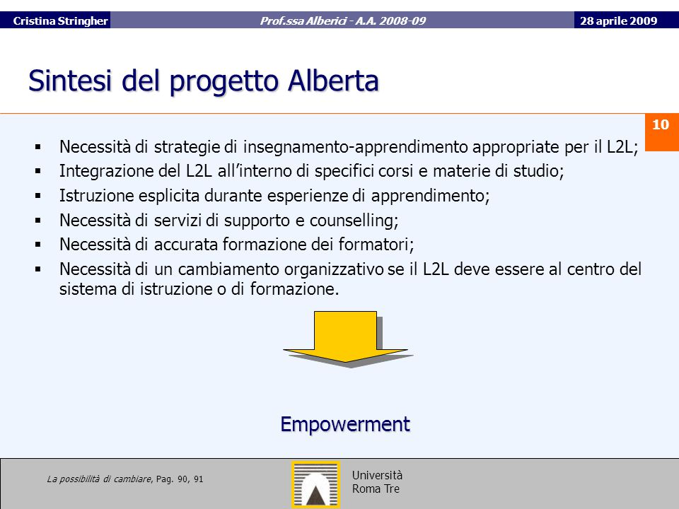 Sintesi del progetto Alberta