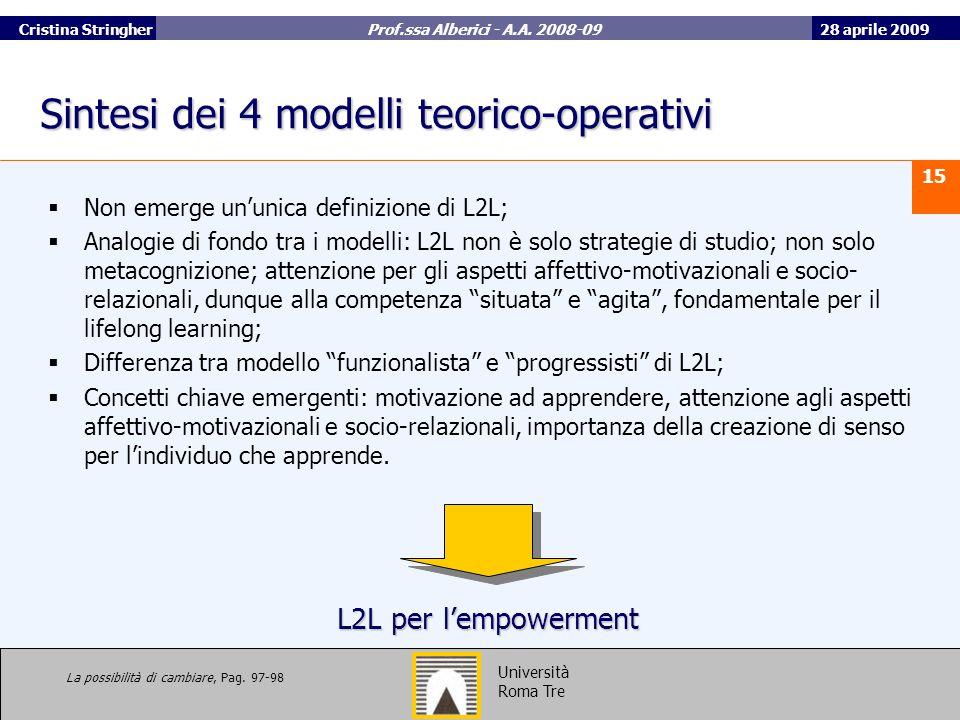 Sintesi dei 4 modelli teorico-operativi
