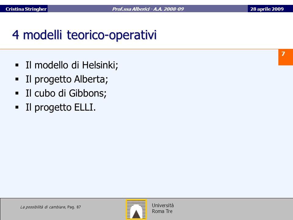 4 modelli teorico-operativi