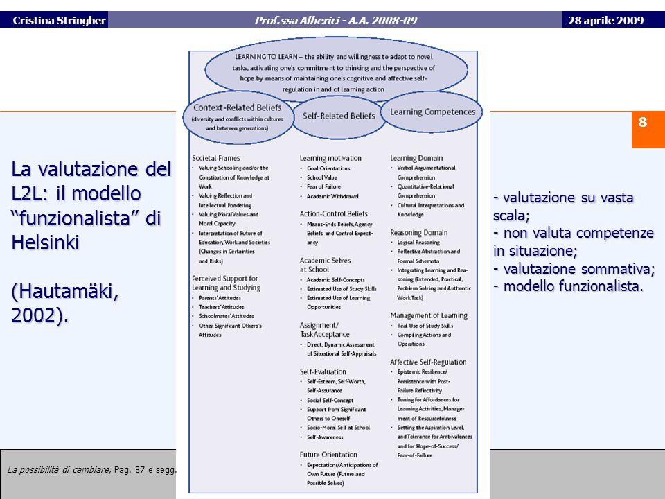 La valutazione del L2L: il modello funzionalista di Helsinki (Hautamäki, 2002).