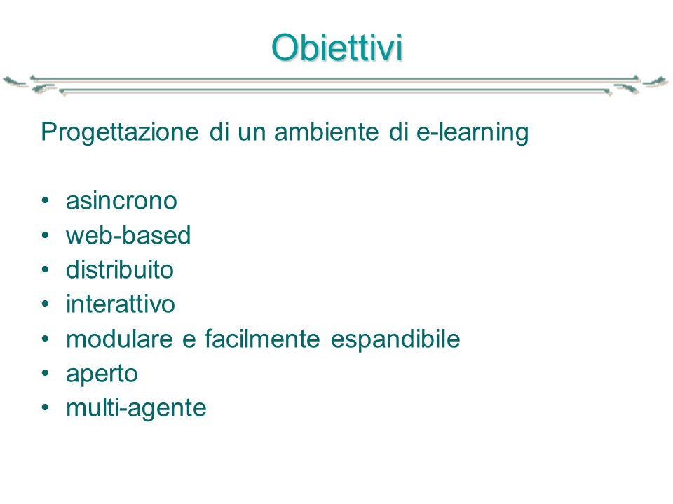 Obiettivi Progettazione di un ambiente di e-learning asincrono