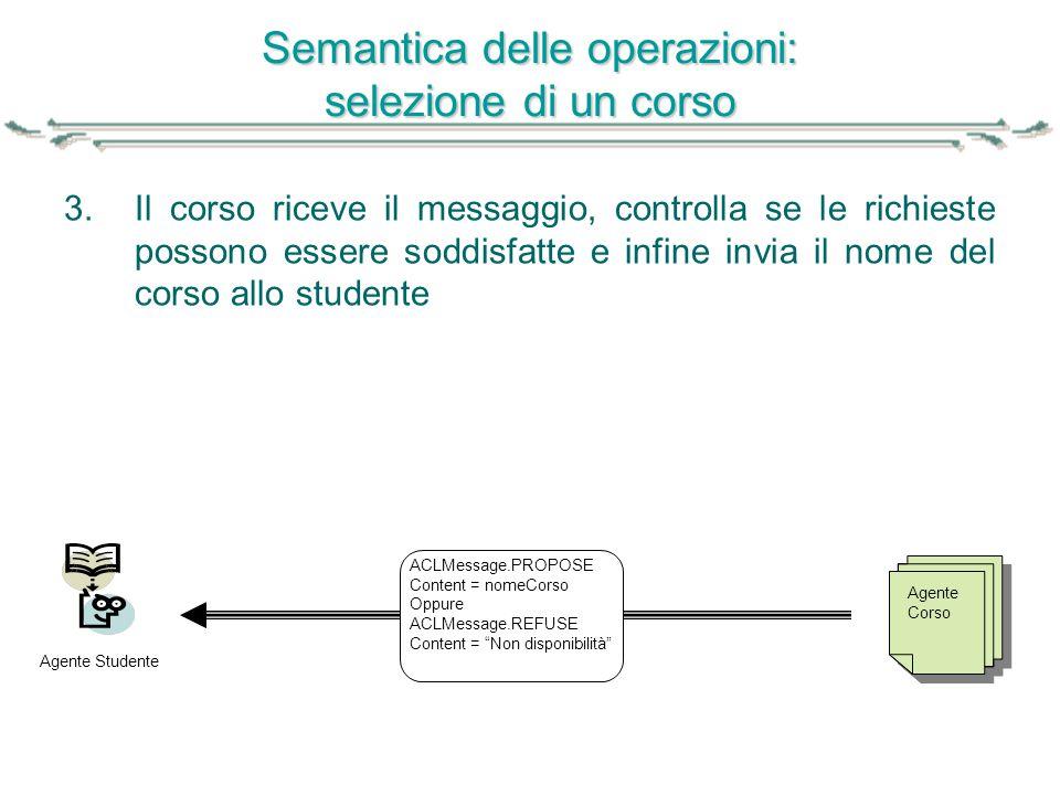 Semantica delle operazioni: selezione di un corso