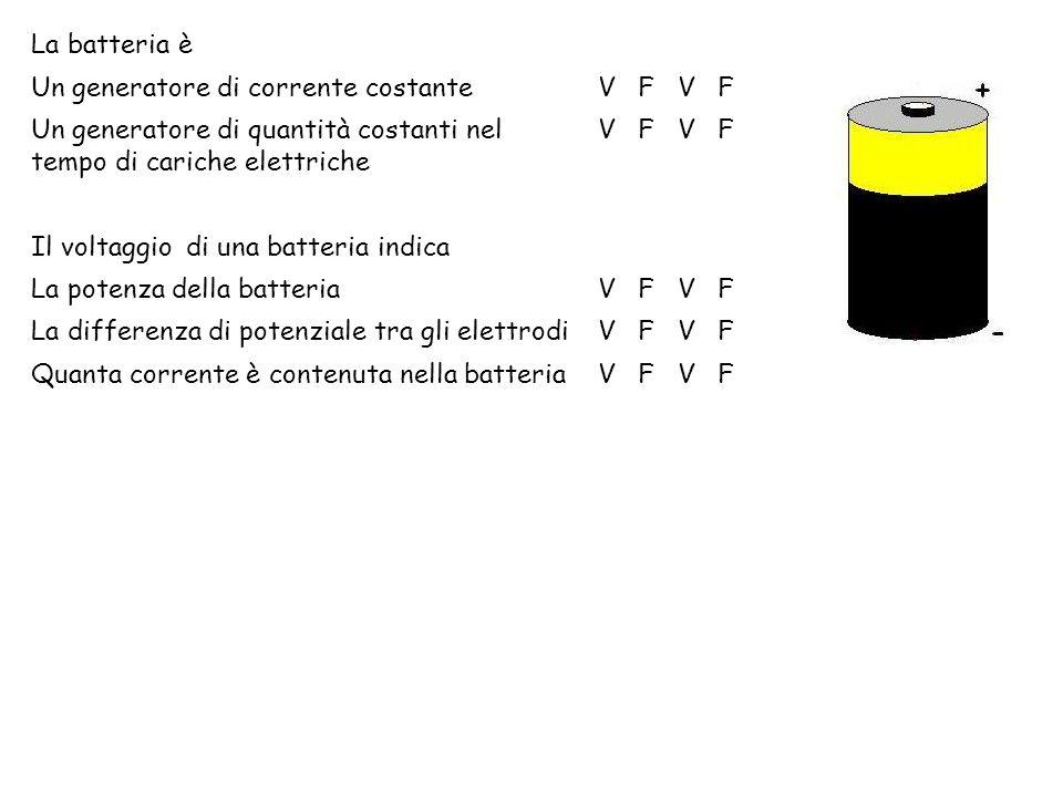 La batteria è Un generatore di corrente costante. V. F. Un generatore di quantità costanti nel tempo di cariche elettriche.