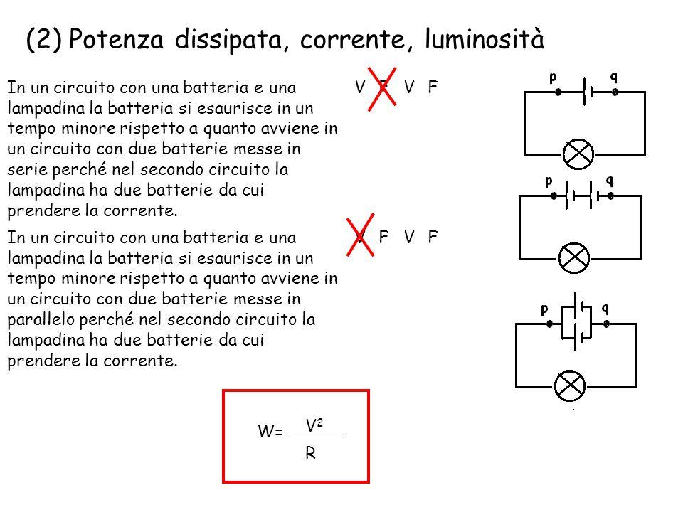 (2) Potenza dissipata, corrente, luminosità