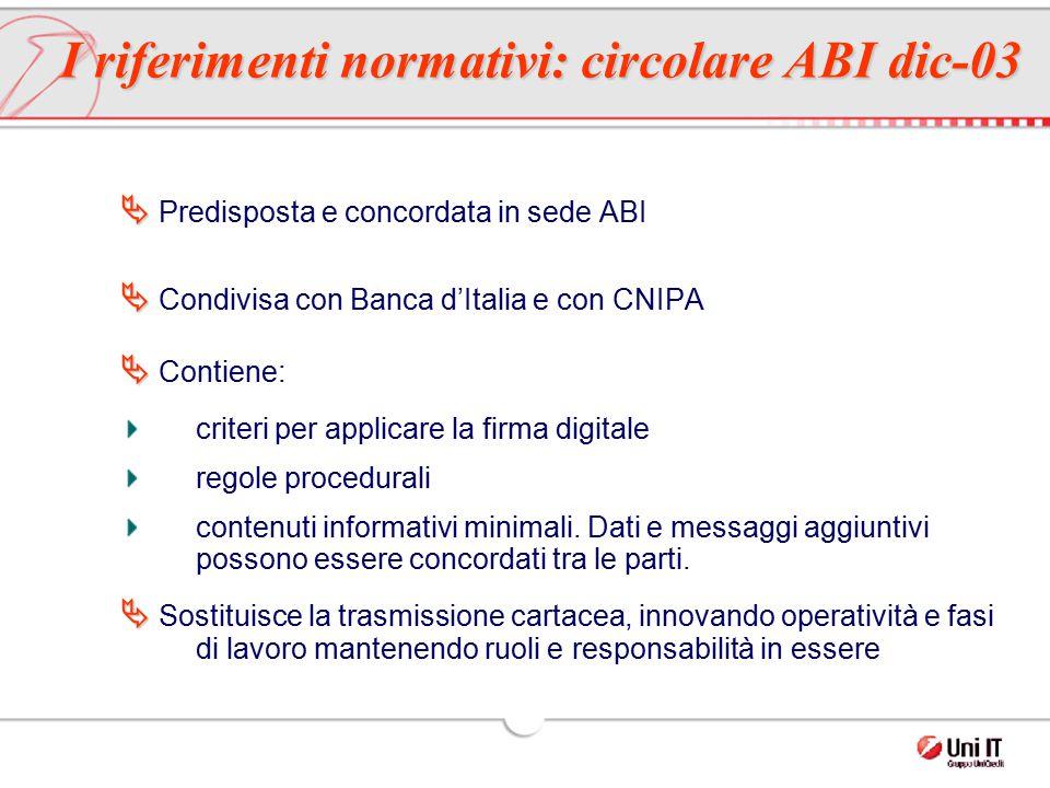 I riferimenti normativi: circolare ABI dic-03